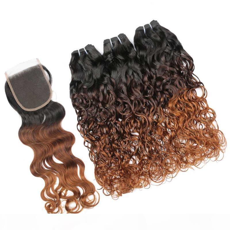 الرطب متموجة # 1b 4 30 أوبورن أومبير البرازيلي العذراء الشعر البشري 3 حزم مع إغلاق موجة المياه 3tone أومبير 4x4 الدانتيل إغلاق مع النسيج