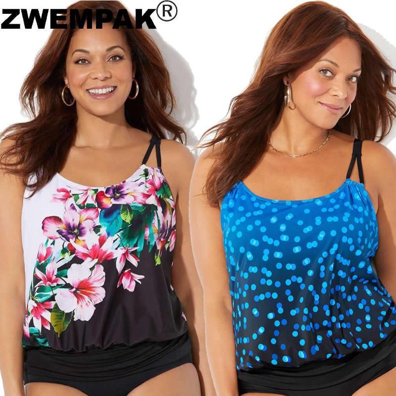 2021 Yaz Seksi Bikini Retro Baskı Çiçek / Polka Dot Kadınlar Tankini Set Büyük 3XL Iki Parçalı Yüzme Takım Elbise Kadın Beachwear Biquini