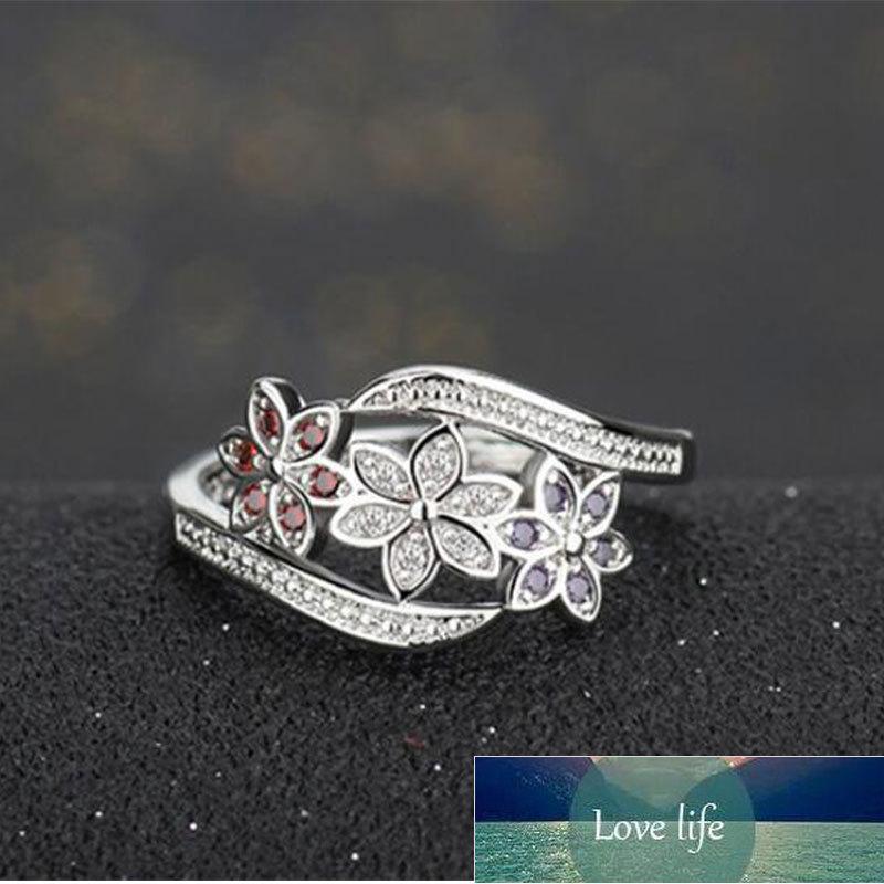 925 Ayar Gümüş Trendy Renk Vintage Mikro Zirkon Çiçek Yüzükler Kadınlar Için Düğün
