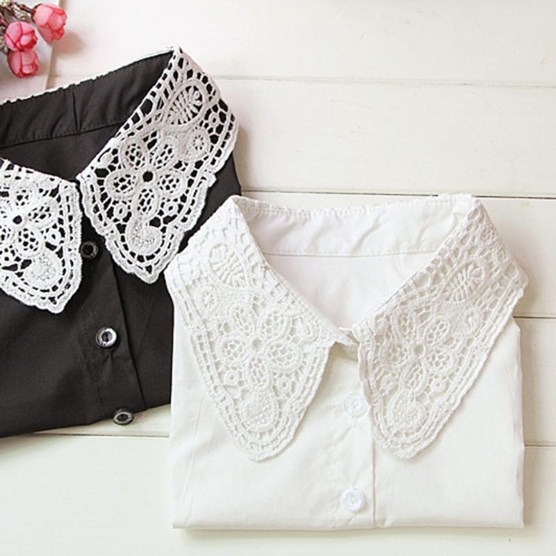 Шелгические галстуки Женщины Чистый цвет Кружева Съемный отсловный отворотный колье Ожерелье Рубашка поддельный ложный воротник белый, черный