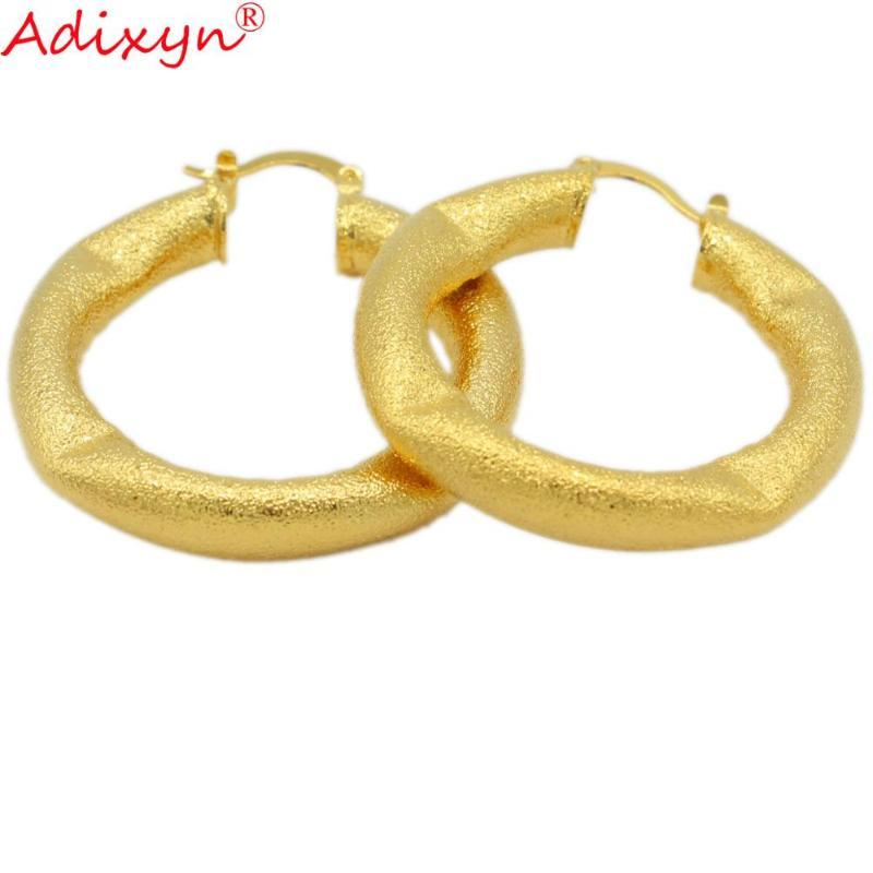Adixyn Irregularity Round Hoop Earring Jewelry Gold Color Earrings For Women Ethiopian Middle East Christmas Gifts N12052