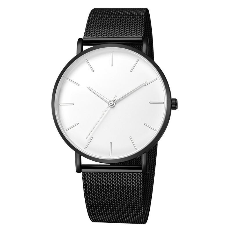 Wristwatches Fashion Simple Men Watch Stainless Steel Strap Military Buckle Date Mens Clock Hour Analog Quartz Wrist Watches Montre Homme
