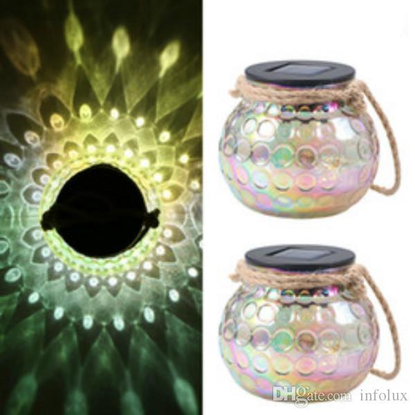 Luzes de esferas de pavão de vidro à prova d'água ao ar livre pendurado lâmpada de luz lanterna solar lanterna lâmpada para jardim pátio pátio pátio caminho decoração do gramado