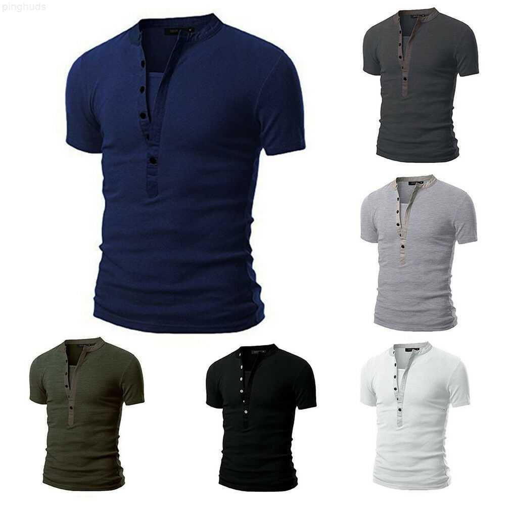 T-shirt de verão sólido masculino 2019 quente magro ajuste em v pescoço de manga curta muscle tee verão macho verão moda casual tops henley camisas