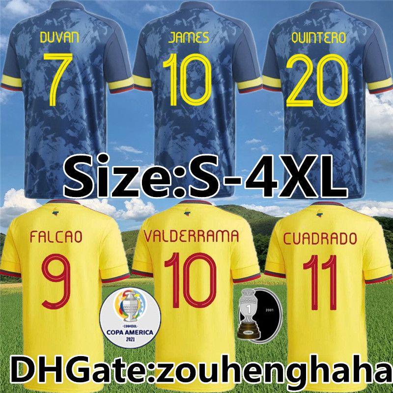 Colombia Cuadrado Falcao Fútbol Jersey 2021 22 Cardona Borja Sánchez Muriel Maillots de pie Zapata Mina Borre Uribe Camisa de fútbol Tamaño S-4XL