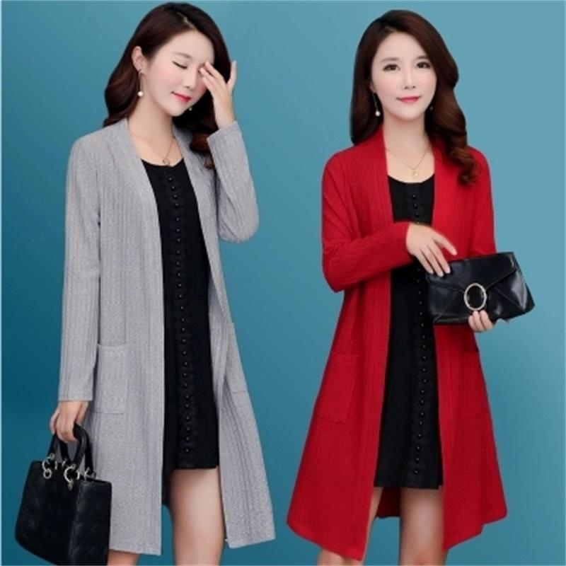 Frühling und Herbst Neue koreanische Version Die große Größe der großen Strickjacke des langen gestrickten Tuchs Frauen-Strickjacke HRFL