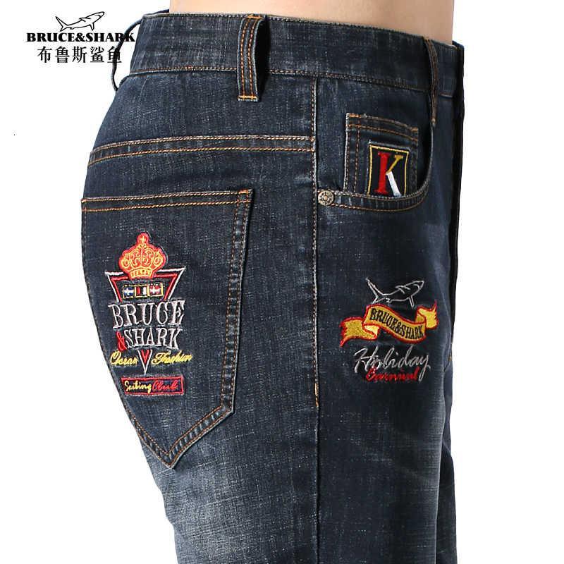 2021 NUEVO verano de algodón delgado Pierna recta Hombres Denim Pantalones Clásicos Vaqueros Jóvenes Jeans Estirar Moda Casual