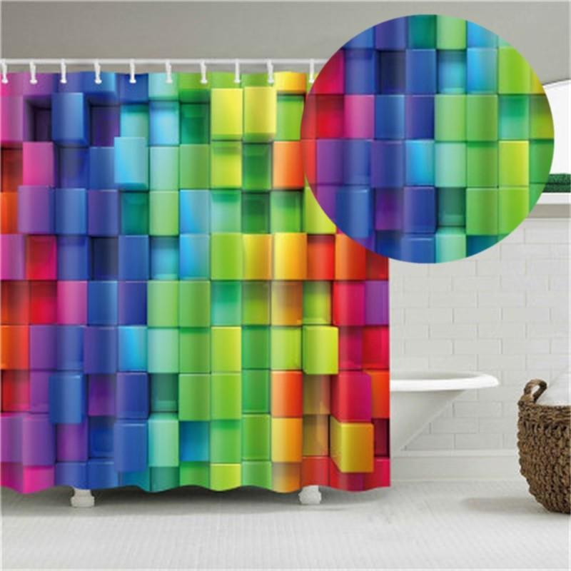 Padrão xadrez de impressão digital cortina de chuveiro impermeável cinco chuveiro cortina de banho divisória de banheiro transfronteira cortina de chuveiro tecido 32yy s2