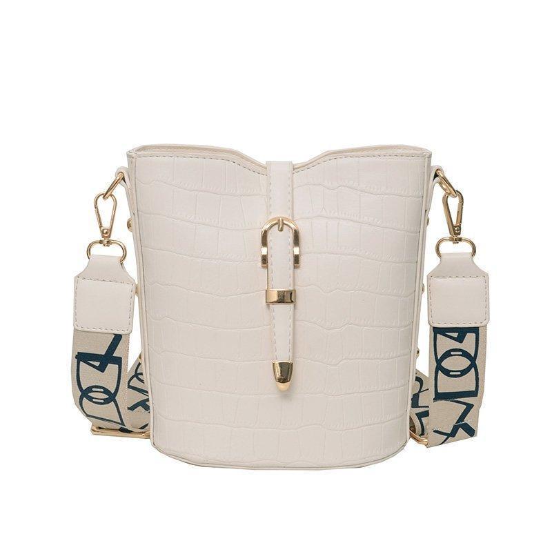 Chongsukei fanshion 2021 saco feminino estilo ocidental padrão de pedra balde saco versátil de um ombro mensageiro bolsas para mulheres