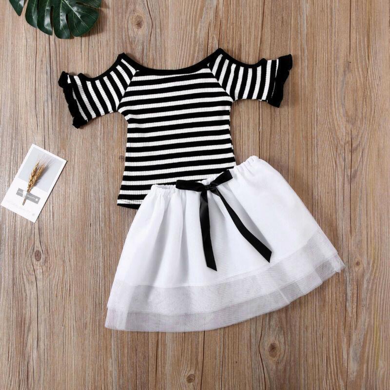 Baby Kinder 1-6Years Kleinkind Baby Mädchen Streifen Top T-shirt Tutu Spitze Party Prom Rock Hochzeit Outfits