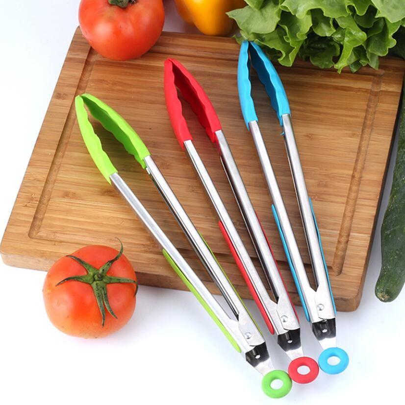 35cm Silicone Alimentos Tong Tong Aço Inoxidável Cozinha Tongs Silicone Não-Slip Cozinhar Clip Clip Clip BBQ Tools Grill Kitchen Acessórios DHL GRÁTIS