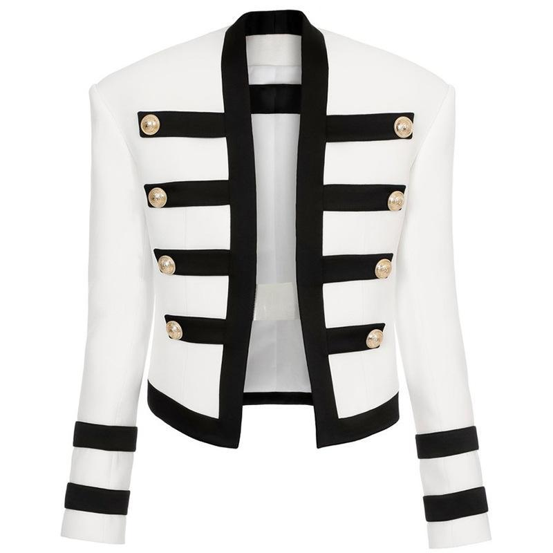 Abiti da donna Blazer Fashion Slim Blazer Donne Bel Giacca Leone Fibbia Black Black Bianco Contrasto Lady Girl
