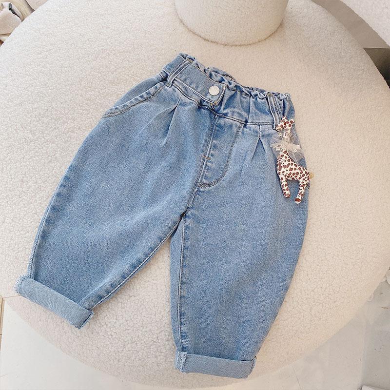 Джинсы девочек с куклой дети дети дети джинсовые штаны маленькая девочка джинсы весенний малыш девушка падение одежда детские брюки детские Детские брюки