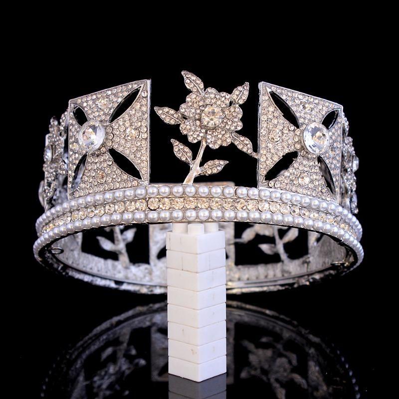 Crystal Vintage Royal Queen King Tiaras et Crowns Hommes / Femmes Pageant Bal Diadem Cheveux Ornements De Mariage Cheveux Bijoux Accessoires