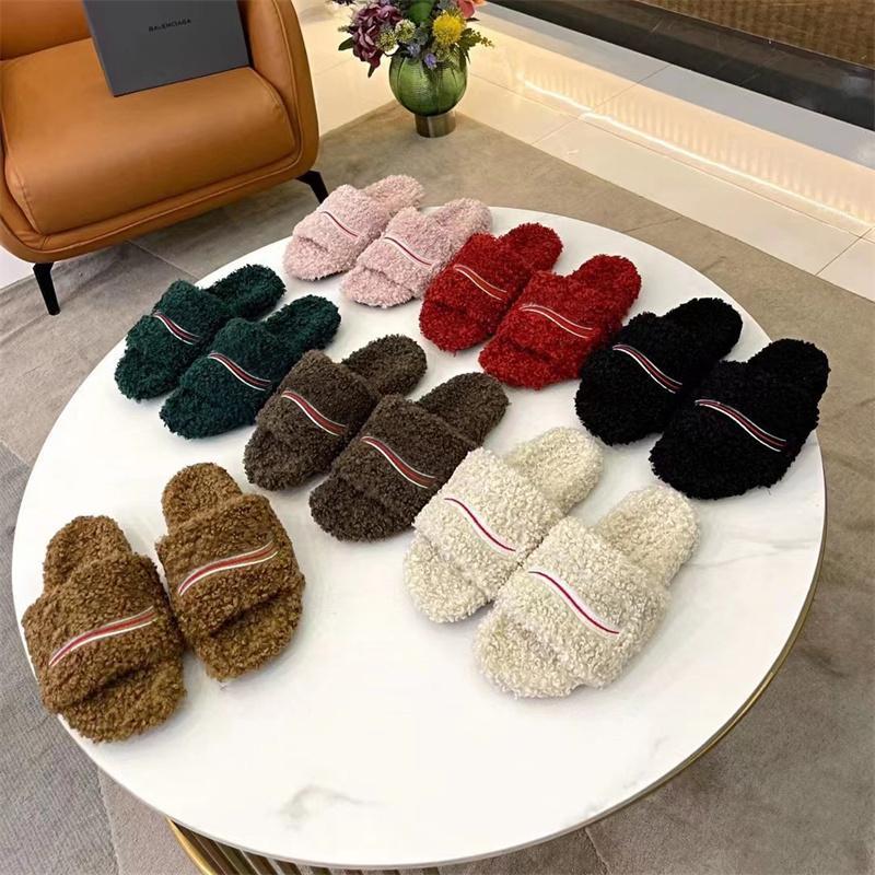 Pantofole di lana alla moda Colore solido 1: 1 ricamo flip flop inverno originale gomma antiscivolo resistente all'usura inferiore autunno pecora in pelle dupe sandali peluche