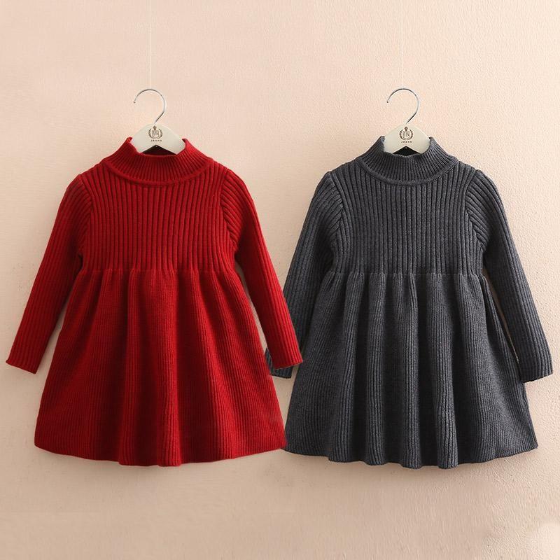 Babykleid Pullover 2021 Frühling und Herbst Neue Mädchen Kleidung Kinder Gestricktes Kleid 2-14YEAR Kleinkind Mädchen Fall Kleidung