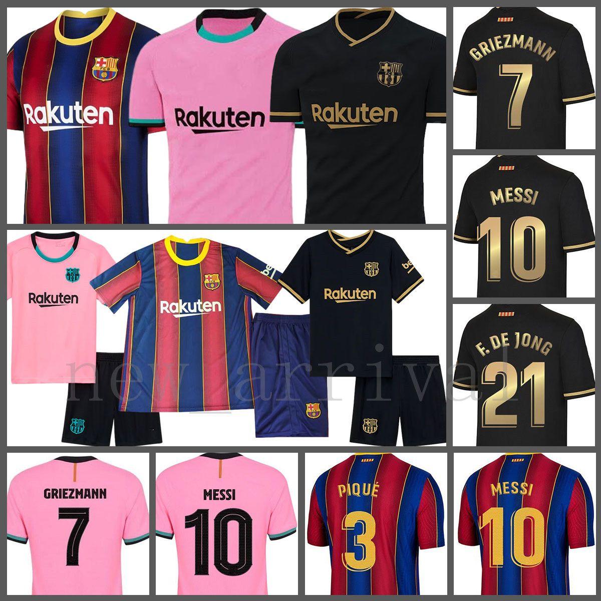 Messi Futbol Forması A. Iniesta Futbol Gömlek F. De Jong Maillot de Foot Griezmann erkek Barselona I.rakitic Ansu Fati Suarez Dembele
