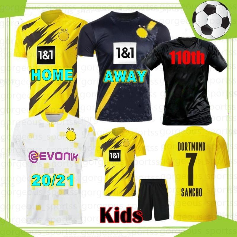 Reus haaland 20 21 futebol jersey 2021 2022 Tailândia camisas de futebol de qualidade Bellingham Sancho Hummels Brandt homens Kits Kits Maillot de pé