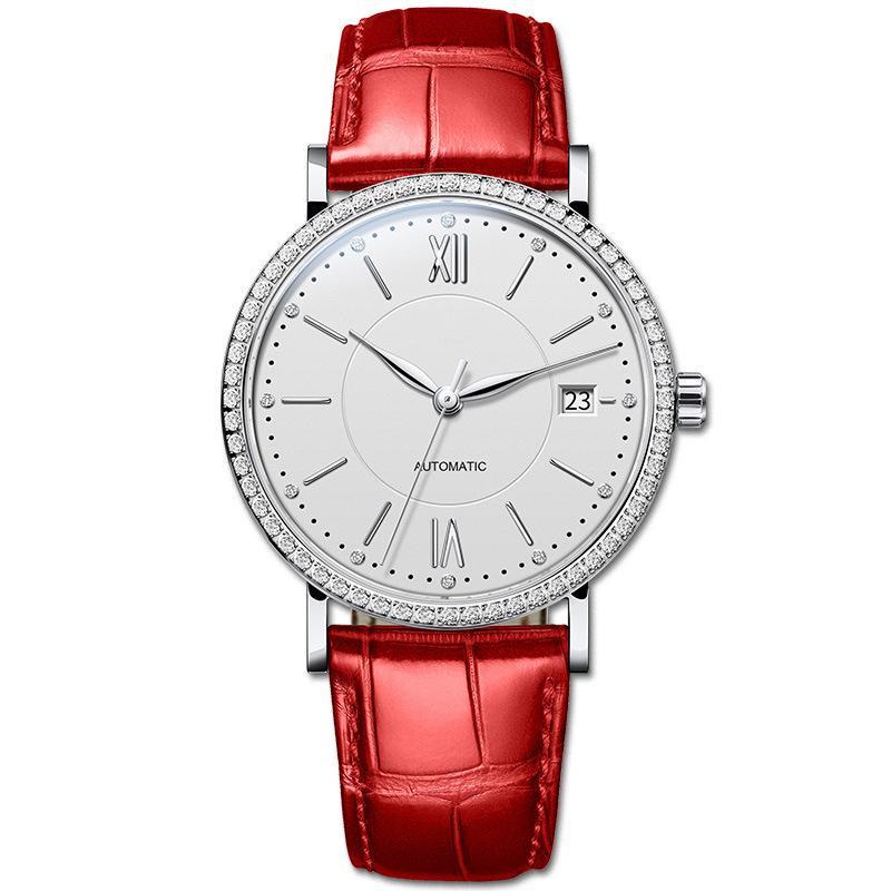 Женский бизнес Корейский модный алмаз Inlaid простые автоматические механические часы