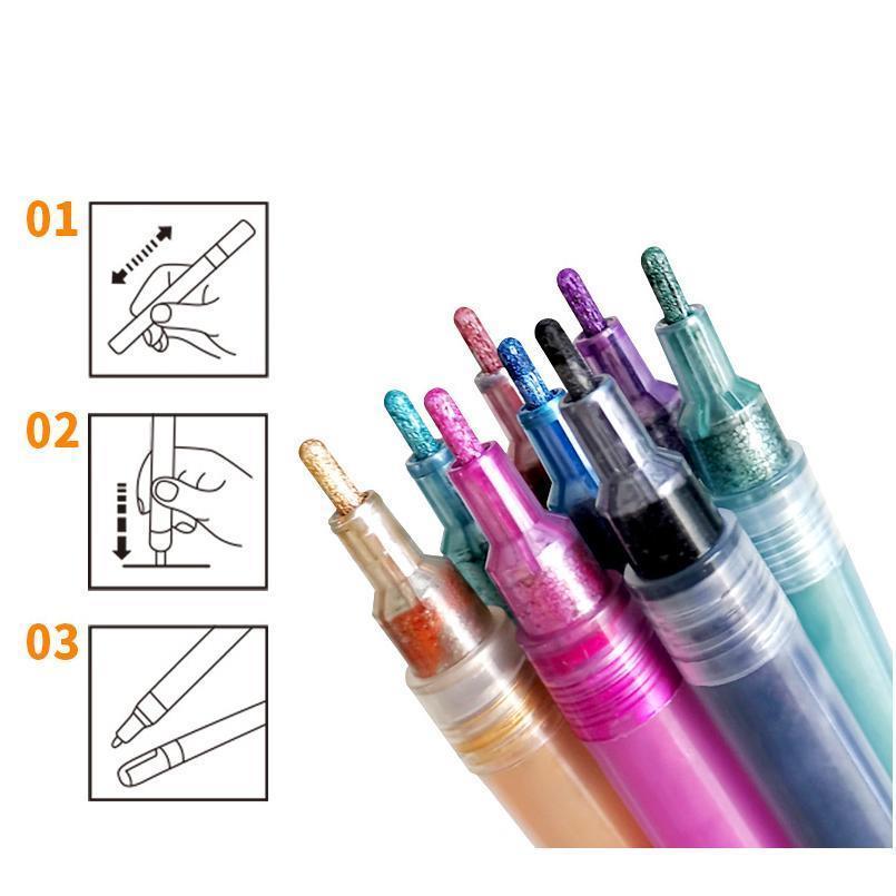 8 Renkler Çift Hatlar Sanat İşaretleyicileri Out Çizgi Kalem Kırtasiye Sanat Çizim Kalem Için Kaligrafi Yazı Renk Dergisi Scra Jllajw