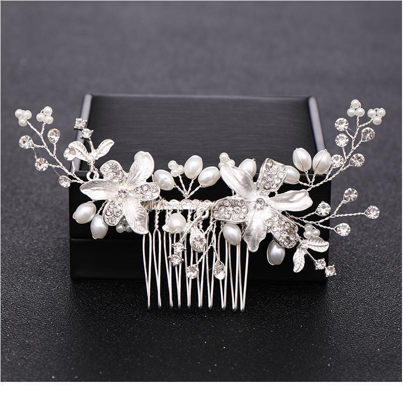 Capelli per capelli per perle di colore argento fatto a mano pettini e clip gioielli per capelli di cristallo per le donne pettine per capelli da sposa ornament ornamen