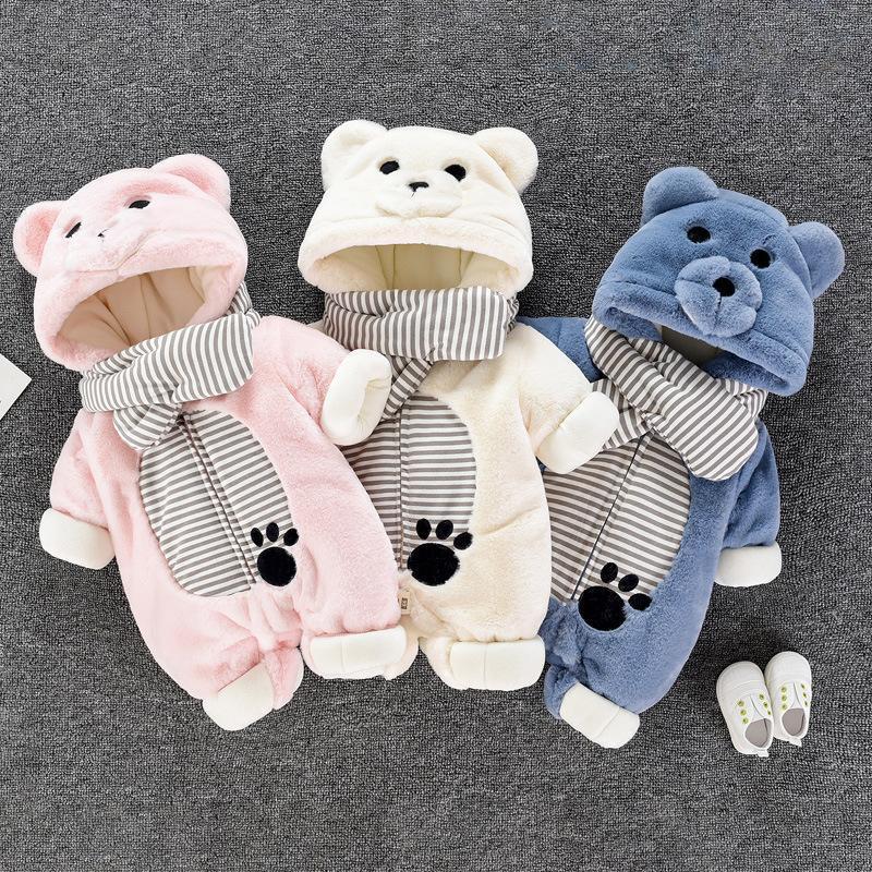 Unisex Baby Strampler Jungen Mädchen Fleece Mit Kapuze Winter Fleece Jumpsuit Weiche Niedliche Cartoon Mäntel Neugeborenen Infant Anzüge Baby Kleidung