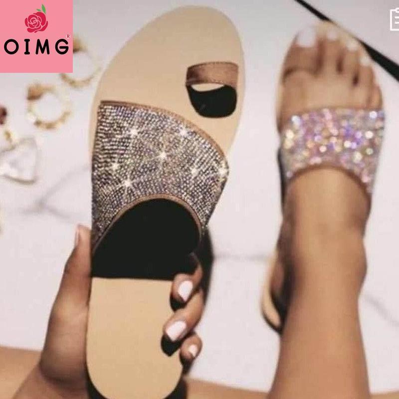 Hausschuhe OIMG Sommer Mode Frauen Schuhe Sexy Strass Offene Sandalen Outdoor Beach Flache untere römische Art