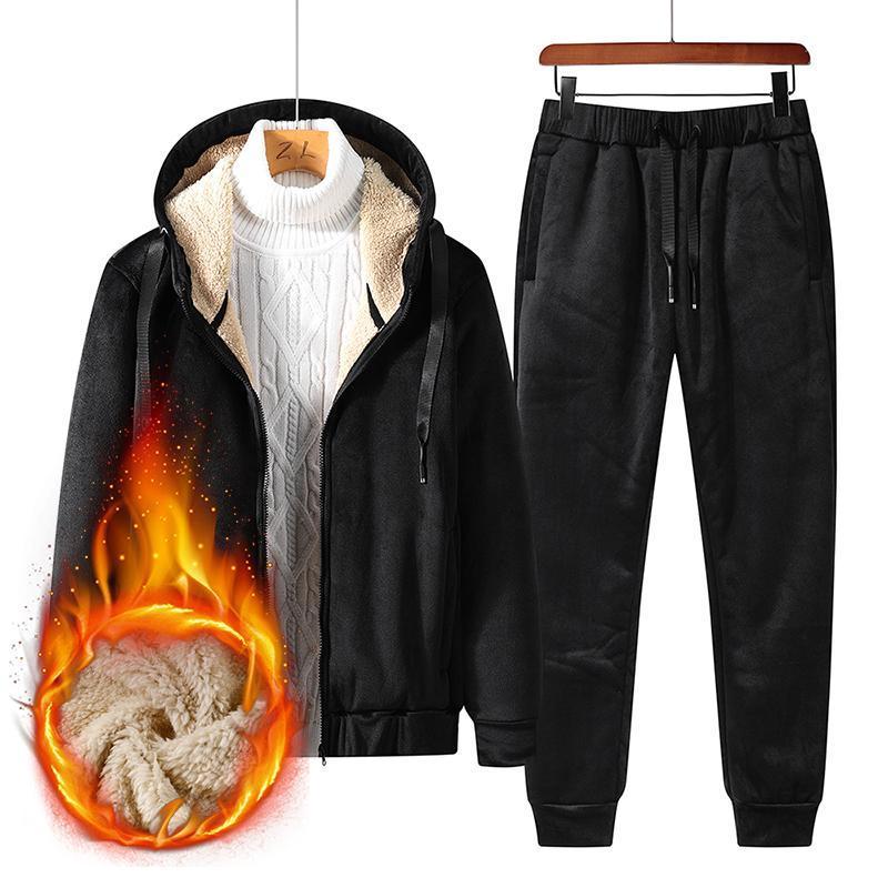 Мужские трексуиты Couscsuit Мужчины 2 кусок набор 2021 зимняя кашемировая твердая спортивная одежда толстовка пот брюки бега трусцой хлопок для