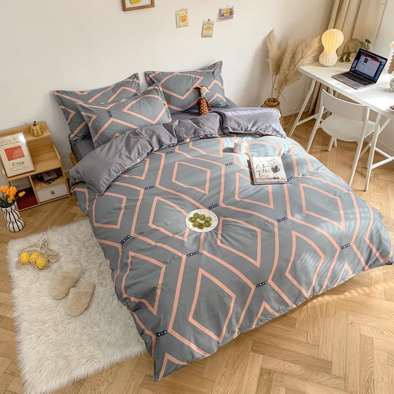 Verdickte meiratierte 4-teilige Bettwäsche, WASHED Baumwollbettschicht und Steppdecke, 3-teiliges Set-Bett-Bett-Set