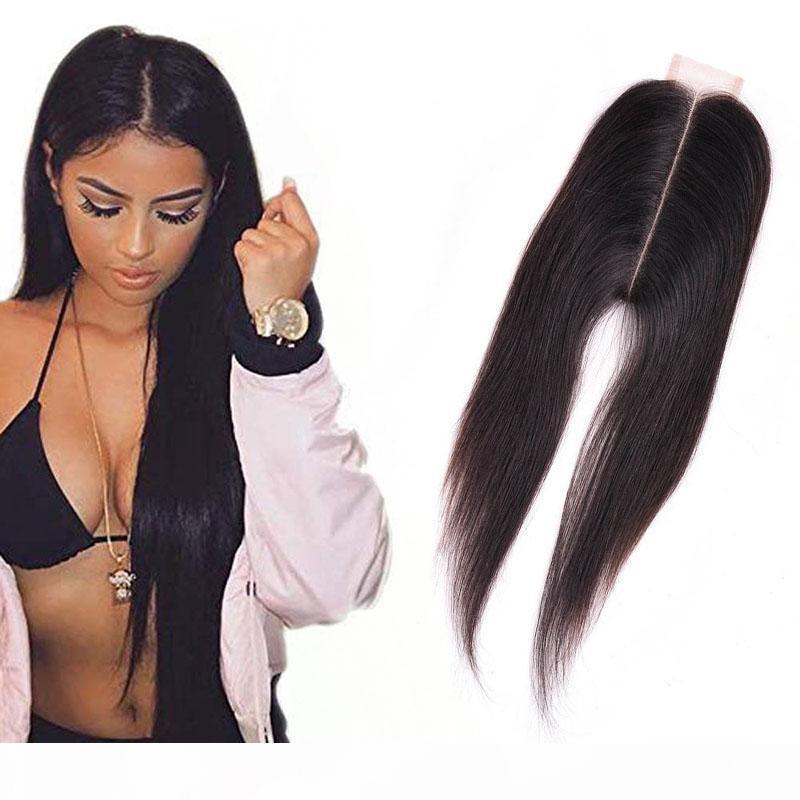 브라질 버진 헤어 2x6 레이스 폐쇄 인간의 머리카락 중간 부분 스트레이트 레미 헤어 실키 스트레이트 2 * 6 자연 색상