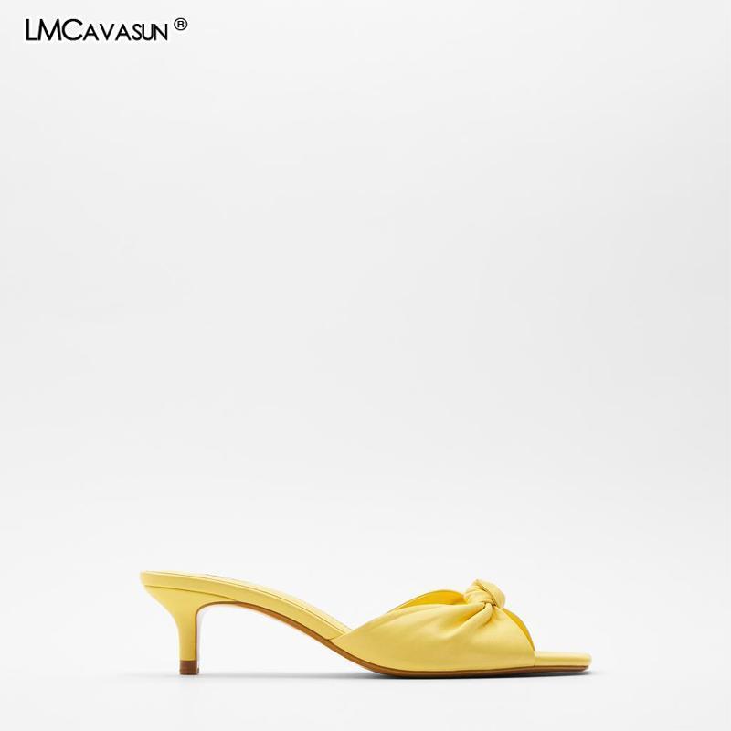 LMCAVASUN 2021 Summer New Women's Slipper Yellow Square Toe Knot Thin heel Slide Sandals Leather Sandals women Brand Shoes