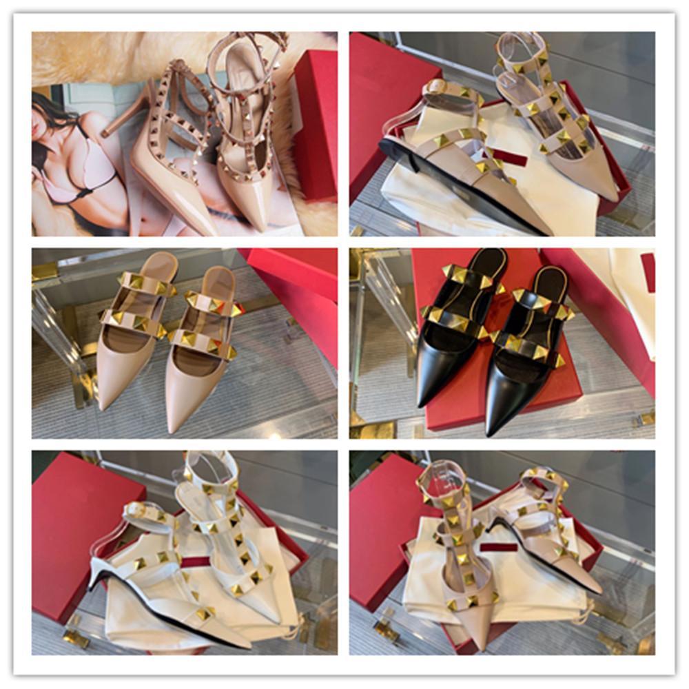 Mujeres tacones altos vestido zapatos de correa con remaches de dama niñas sexy Partido puntiagudo de punta de punta de punta de punta de sandalias plataforma bombas boda
