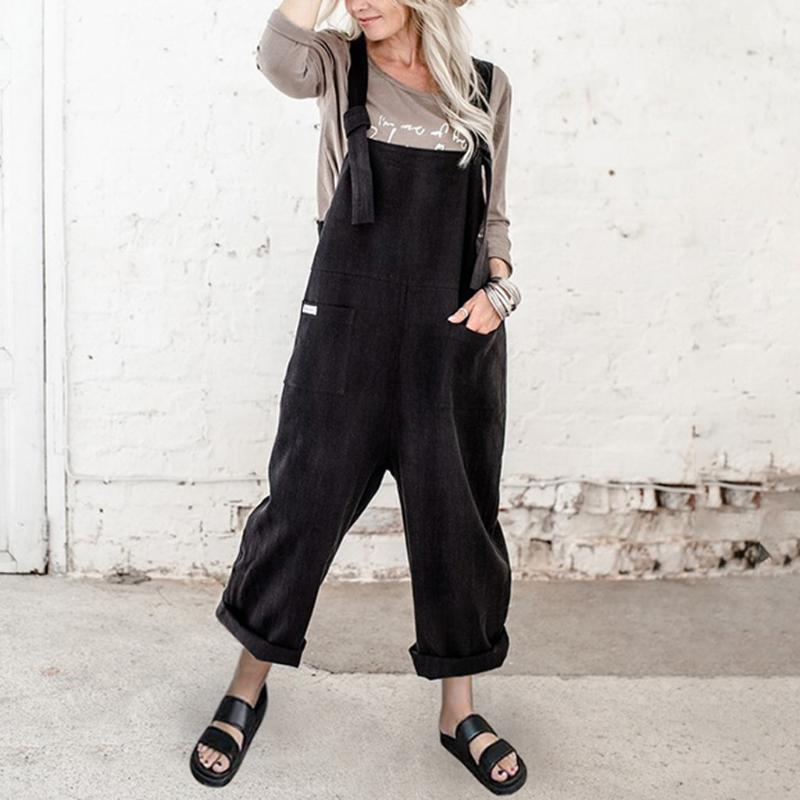Комбинезон женщины лето 2020 мода твердого без рукавов Камизол Rompers Дамы Paysuit Повседневная длинный карманный комбинезон Ju4