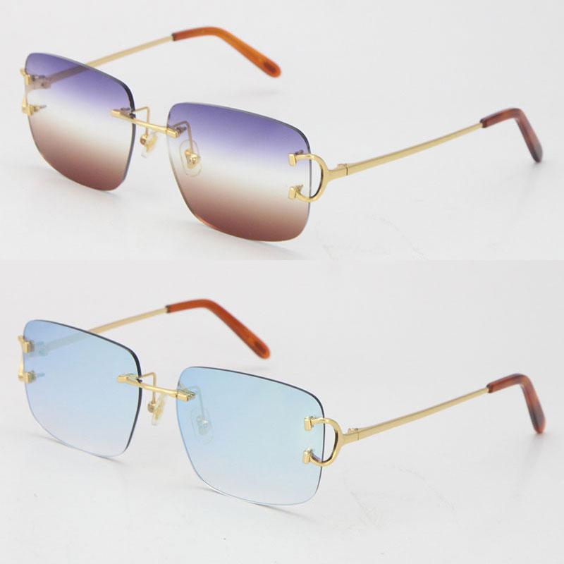 rimless c 장식 판매 섬세한 유니섹스 패션 선글라스 빈티지 럭셔리 고양이 눈 금속 운전 안경 디자이너 UV400 렌즈 사각형 모양 얼굴 안경