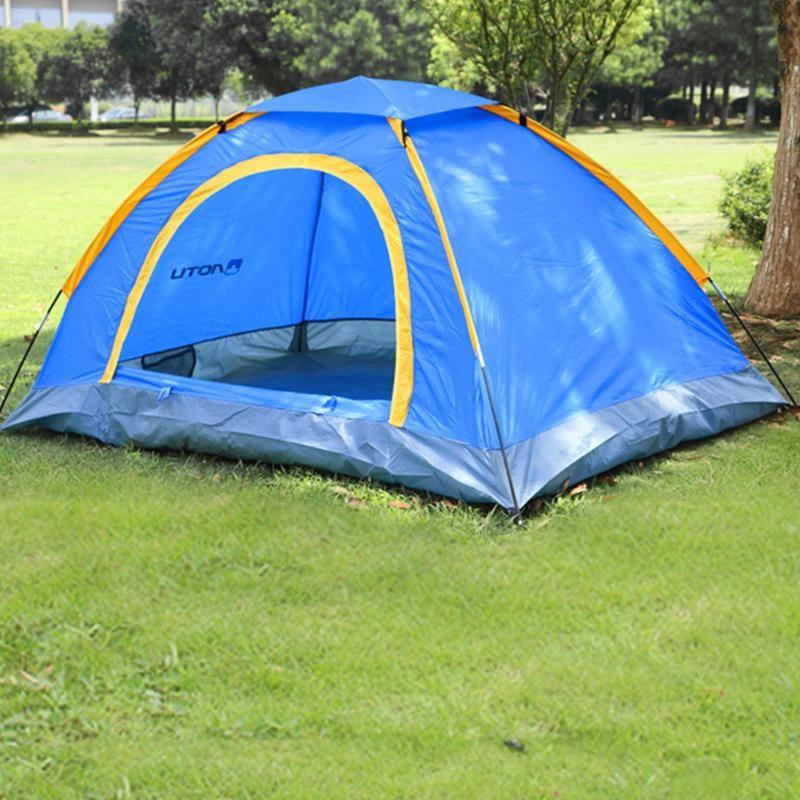 الخيام والملاجئ 1-2 أشخاص خيمة Windproof uv مقاوم للماء التخييم في الهواء الطلق مع حقيبة التخزين للسفر المشي لمسافات طويلة