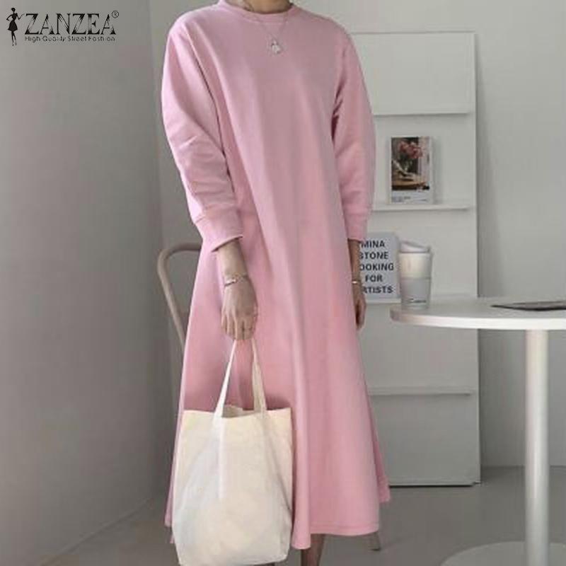 Casual Dresses Zanzea Maxi Frauen 2021 Plus Größe Robe Damen Solide Sweatshirts Weibliche Lose Vestidos Herbst Langarm Sommerkleid