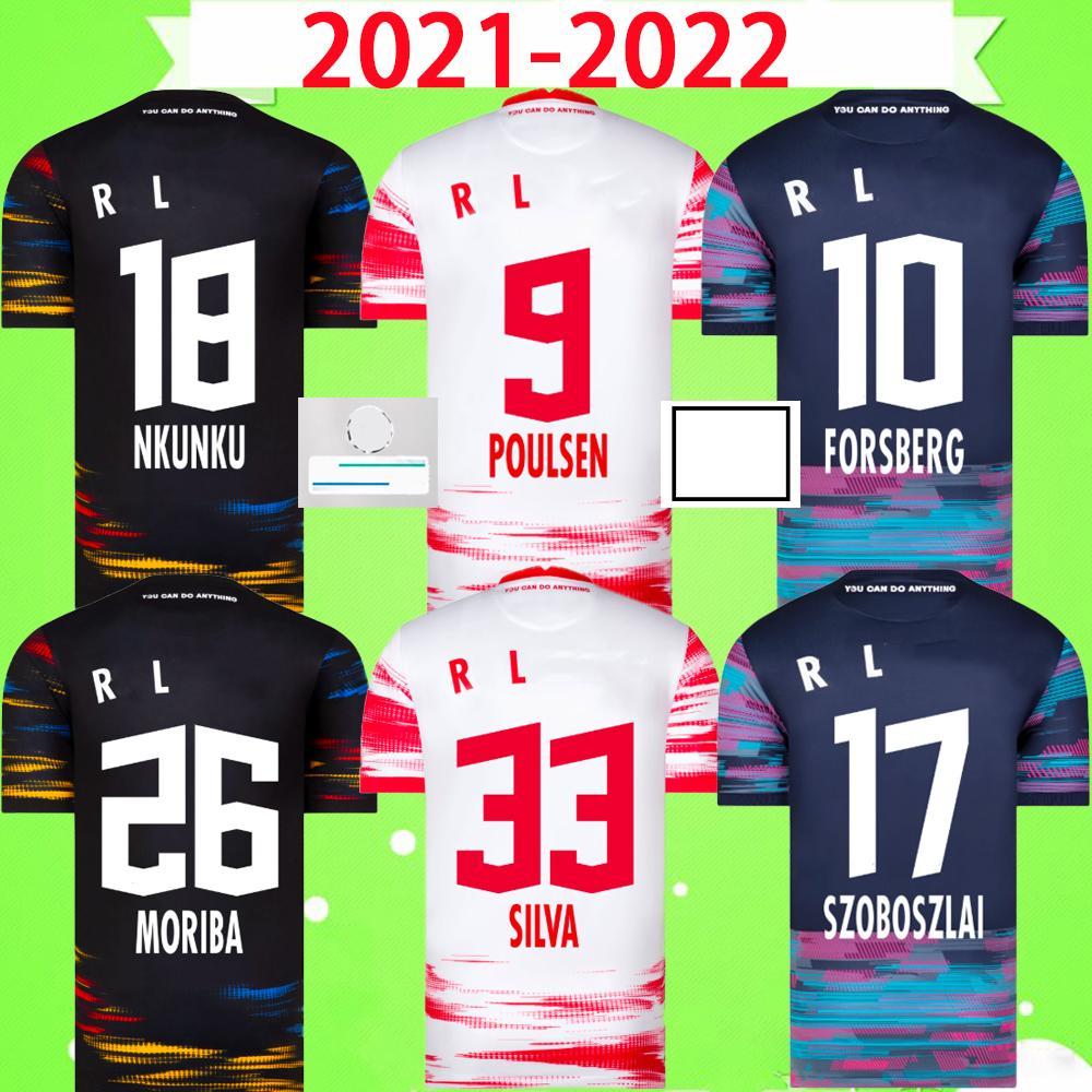 21 22 RB LEIPZIG Futbol Formaları SILVA OLMO NKUNKU POULSEN HAIDARA LAIMER ADAMS MORIBA BROBBEY 2021 2022 Futbol Formaları Yetişkin erkek Kitleri ev sahibi üçüncü