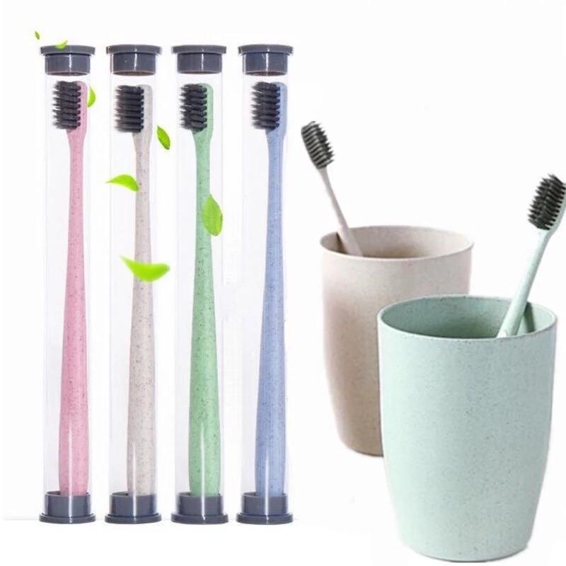 Soft Bamboo Charcoal Spazzolino da denti Eco Friendly Grano Paglia spazzolini da denti portatile Home Spazzolino da viaggio Spazzola per denti per la cura orale Forniture per servizi igienici WLL70