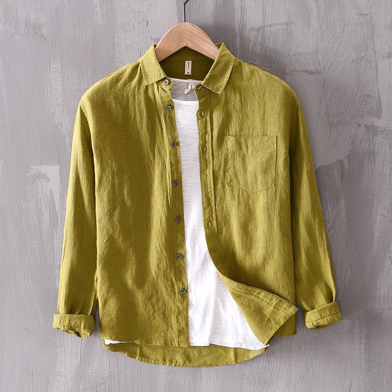 2021 Новое Прибытие Сплошное Бренд Белье Мода Повседневная Зеленый Для Мужчины Чистый Фланк Рубашка Мужские Удобные Рубашки Мужской Chemise 4FKK
