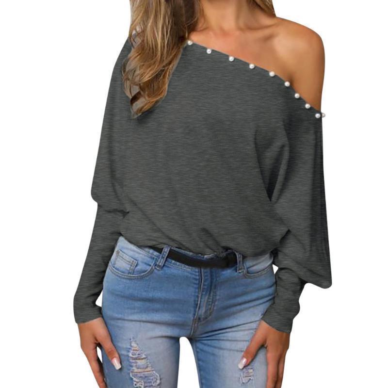 Grau außerhalb der Schulter Top Sexy Frauen Lange Batwing Sleeve Hemd Tops Blusen 2020 Herbst Sommer Mädchen Casual Pullover