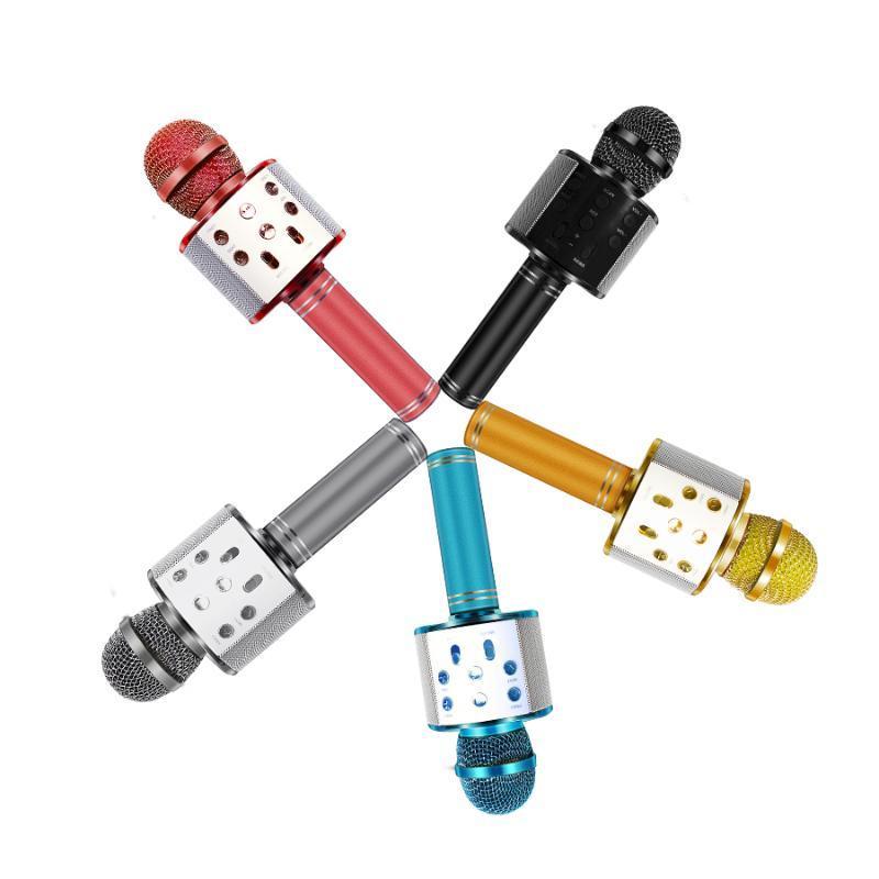 AIIHKUO El Karaoke Mic WS-858 Bluetooth Kablosuz Mikrofon USB Mini Home KTV Müzik için şarkı söyleme hoparlör oynatan oyuncu