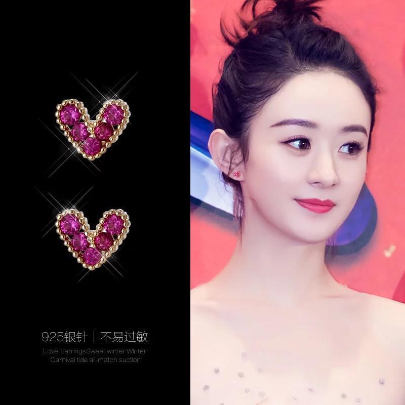 01 70% скидка на новую Super Fairy Love Simple и универсальные, серебряные серьги иголки, корейский изысканный цирконий личности Каменная уха