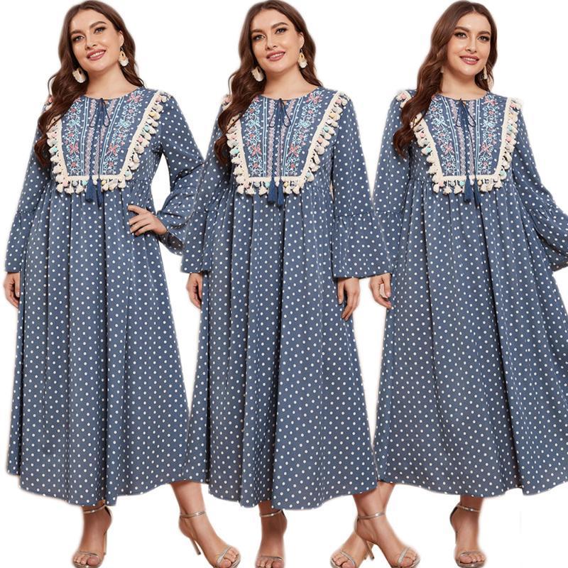 Ropa étnica Vintage Muslim Muslim Mujer Vestido largo Polka Dot Maxi Robe Arabe Islámico Suelto Abaya Ramadán Bordado Bordado Moda
