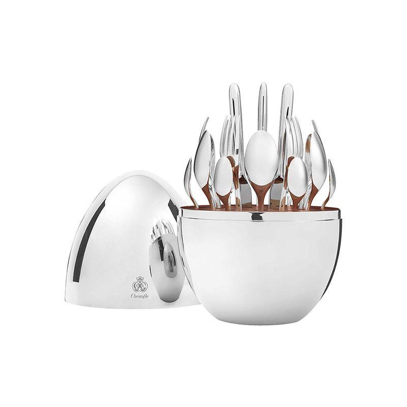 Muebles para el hogar Trendy 24pcs Cuchillo Tenedor Christofle París Estado de ánimo Cubiertos Conjunto de chapado de acero inoxidable Huevo de vajilla de vajilla