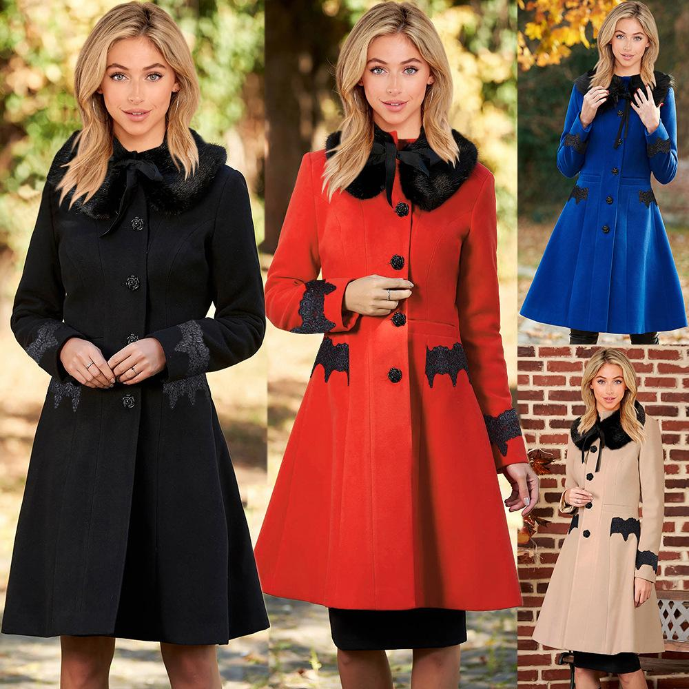 가을 겨울 여성 코트 새로운 Fasion 단단한 캐주얼 양모 코트 옷깃 레이스 중간 길이 여성 트렌치 코트 따뜻한 긴 소매 모직 jacke
