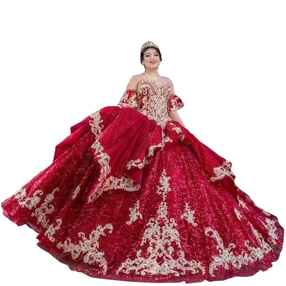 2022ブリンチュールジュリエット半袖Quinceaneraドレスボールガウンのための金のガウンのための金の甘いもの16パーティーウエディングドレス