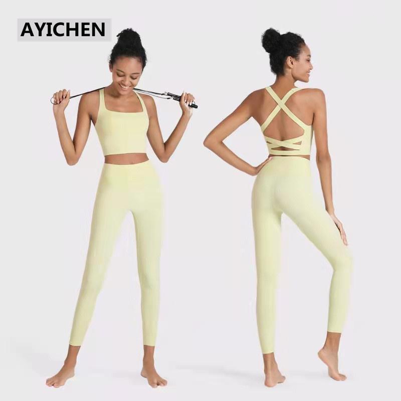 Trajes de yoga mujeres sólido conjunto inconsútil conjunto de fitness ropa deportiva ropa deportiva ropa sin mangas recorte tops medias medias altas leggings de cintura entrenamiento Pantalones