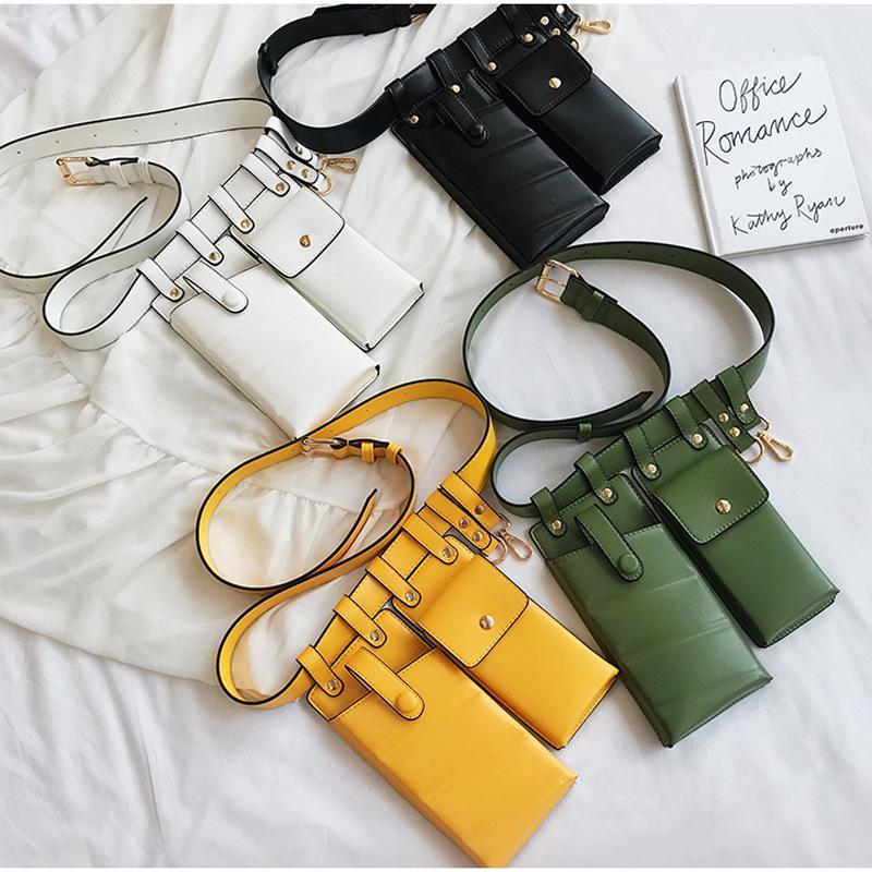 벨트 2021 패션 벨트 허리 찐 박제 롤빵 어머니 가방, 고품질 두 포켓 Fanny 팩 소녀 휴대 전화 가방