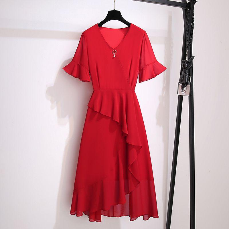 Más tamaño femenino verá la manga corta de la fiesta de gasa Ruff de la cintura alta de una línea negra vestido rojo 2021 ropa Hicx