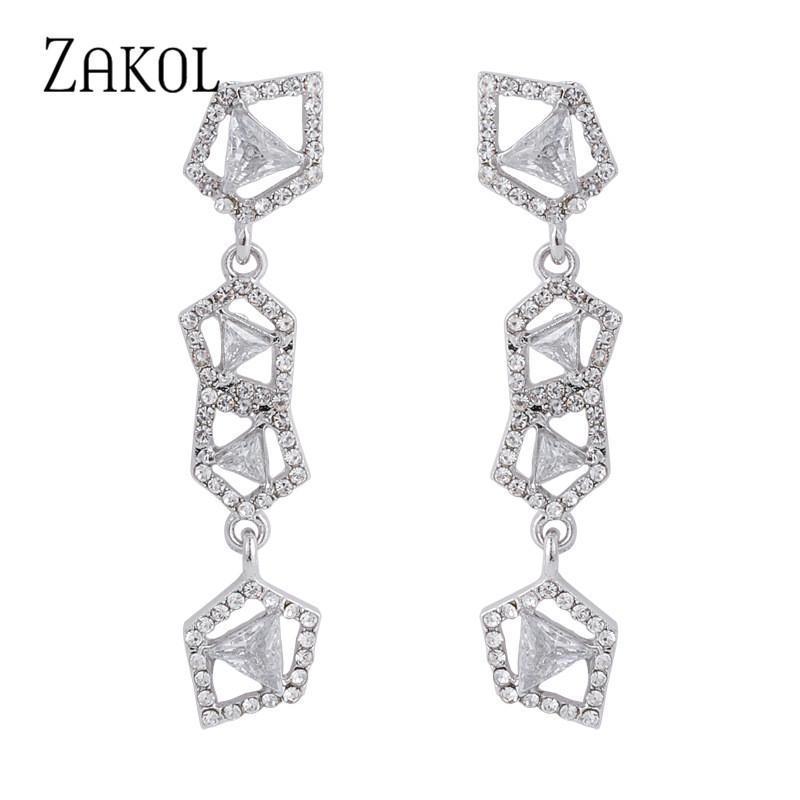 Baumeler Kronleuchter Zakol Koreanischer kühler Stil Geometrischer Square Kubikzircon Lange Ohrringe für Frauen Mode Hochzeit Schmuck 2021